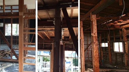 在来工法での階段取り付け時の工事風景